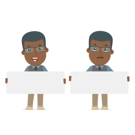 african teacher: Funny Character African American Teacher holds and interacts with blank forms or objects. for use in presentations, etc. Illustration