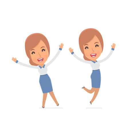 advisor: Laughing and Joyful Character Consultant Girl celebrates and jumps. for use in presentations, etc. Illustration