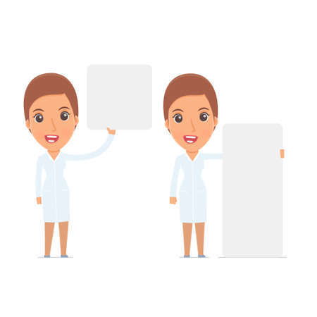 interacts: Funny Character Nurse holds and interacts with blank forms or objects. for use in presentations, etc.