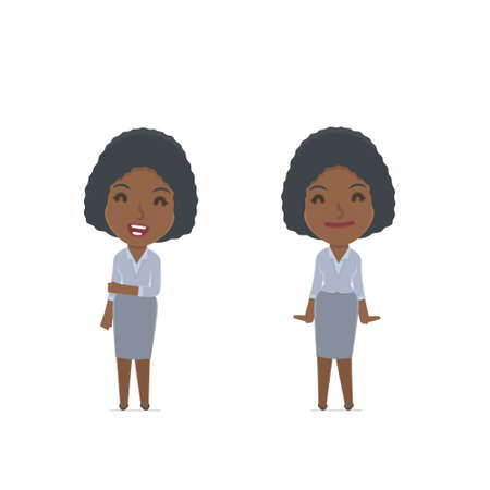 confident: Funny Character Social Worker in confident and shy poses. for use in presentations, etc. Illustration