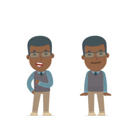 african teacher: Funny Character African American Teacher in confident and shy poses. for use in presentations, etc. Illustration