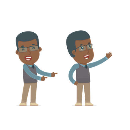 new direction: Happy and Cheerful Character African American Teacher making presentation using his hand. for use in presentations, etc. Illustration