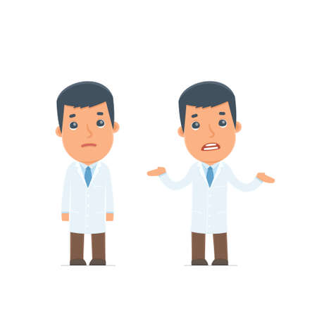 embarrassment: Confused  Character Doctor embarrassment and does not know what to do. for use in presentations, etc.