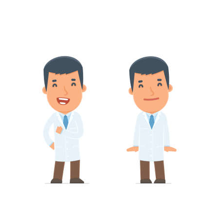 confident: Funny Character Doctor in confident and shy poses. for use in presentations, etc. Illustration