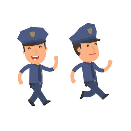 cheerful character: Happy and Cheerful Character Officer goes and runs. for use in presentations, etc.