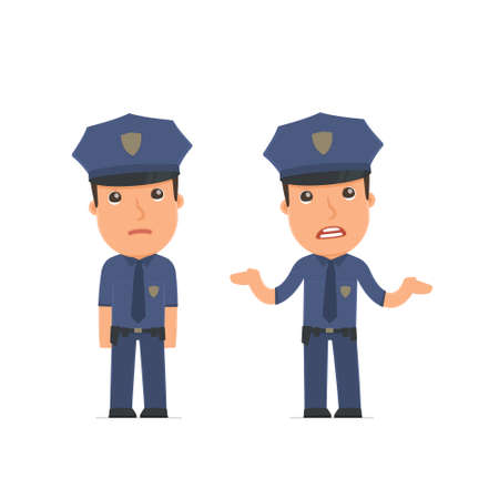 misfortune: Confused  Character Officer embarrassment and does not know what to do. for use in presentations, etc. Illustration