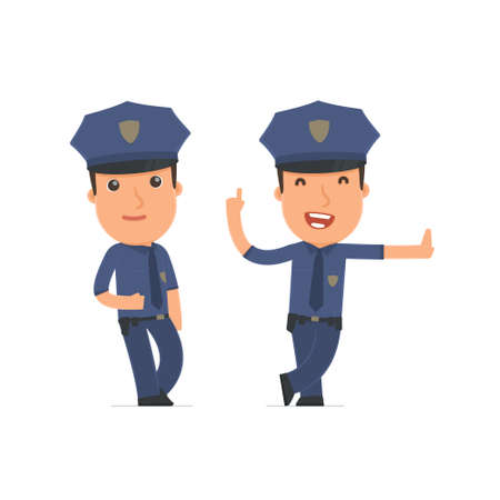 leaned: Smart and Funny Character Officer leaned against the wall and shares information. for use in presentations, etc. Illustration