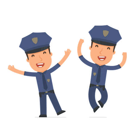 happiness or success: Laughing and Joyful Character Officer celebrates and jumps. for use in presentations, etc.