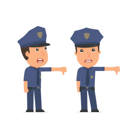 no mistake: Frustrated and Angry Character Officer showing thumb down as a symbol of negative. for use in presentations, etc.
