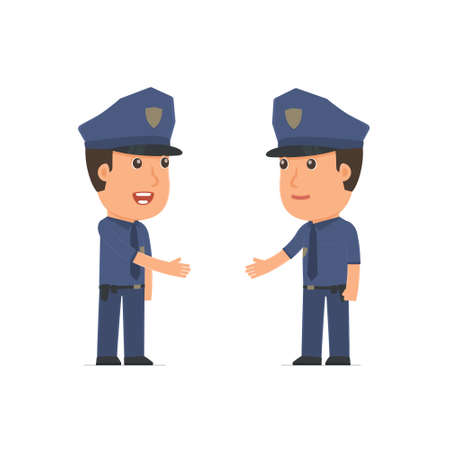 business contract: Intelligent Character Officer concludes business contract with his partner. Poses for interaction with other characters from this series