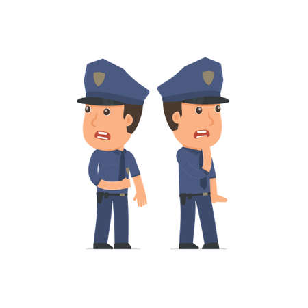 Cowardly Character Officer heard something and very scared. for use in presentations, etc. Illustration