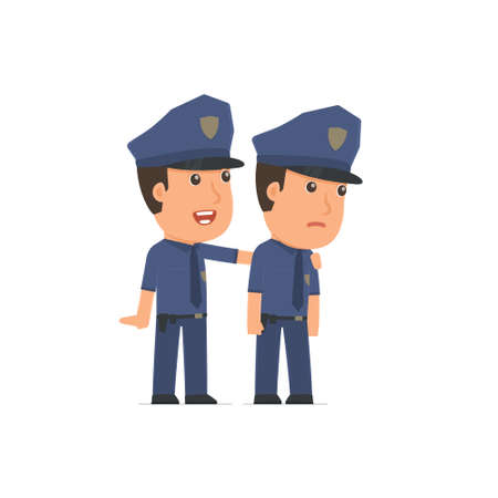 helps: Good Character Officer cares and helps to his friend in difficult times. Poses for interaction with other characters from this series