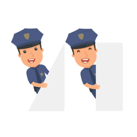 communication occupation: Funny Character Officer holds and interacts with blank forms or objects. for use in presentations, etc. Illustration