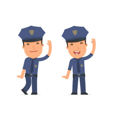 cheerful character: Funny and Cheerful Character Officer welcomes viewers. for use in presentations, etc.