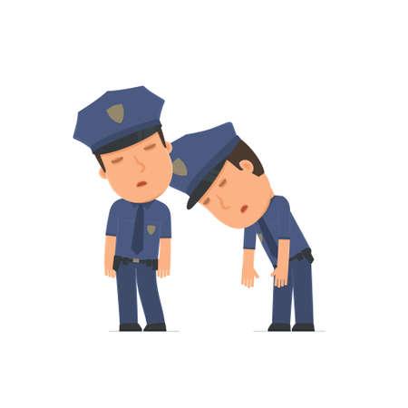 Müde und erschöpft Offizier Charakter auf die Schulter seines Freundes schlafen. Poses für die Interaktion mit anderen Charakteren aus dieser Serie Standard-Bild - 50867517