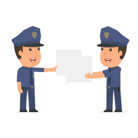 interacts: Funny Character Officer holds and interacts with blank forms or objects. for use in presentations, etc. Illustration
