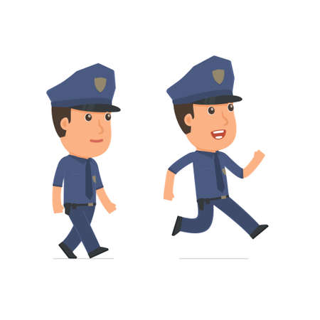 people in action: Funny and Cheerful Character Officer goes and runs. for use in presentations, etc.