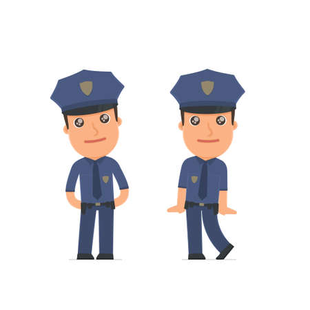 affectionate: Cute and Affectionate Character Officer in shy and awkward poses. for use in presentations, etc.