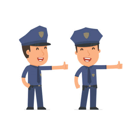 thumb up: Funny and cheerful Character Officer showing thumb up as a symbol of approval. for use in presentations, etc. Illustration