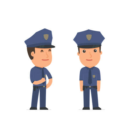 pleased: Happy Character Officer standing in relaxed pose. for use in presentations, etc.