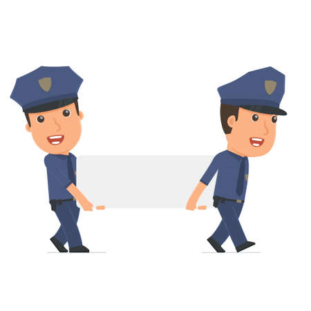 interacts: Funny Character Officer holds and interacts with blank forms or objects. Poses for interaction with other characters from this series