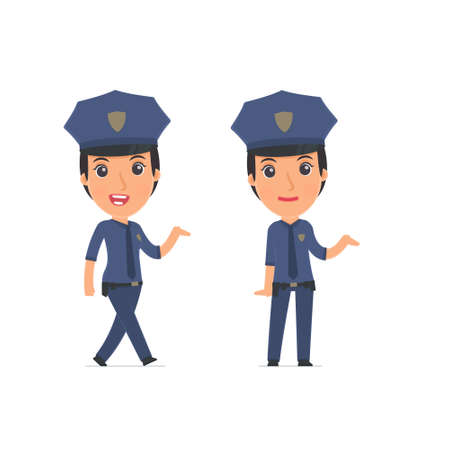 cheerful character: Funny and Cheerful Character Constabulary making presentation using his hand. for use in presentations, etc.