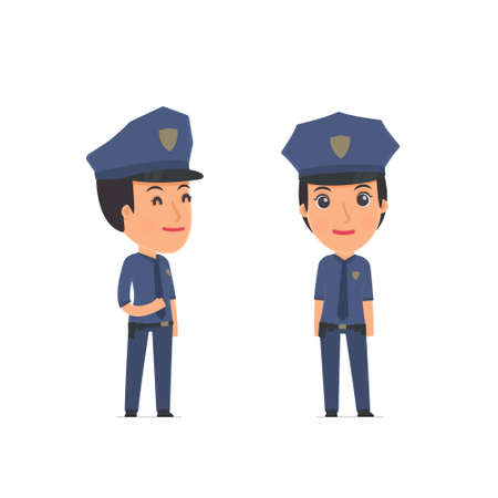 relaxed: Happy Character Constabulary standing in relaxed pose. for use in presentations, etc.