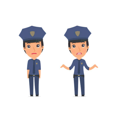 Confused  Character Constabulary embarrassment and does not know what to do. for use in presentations, etc.