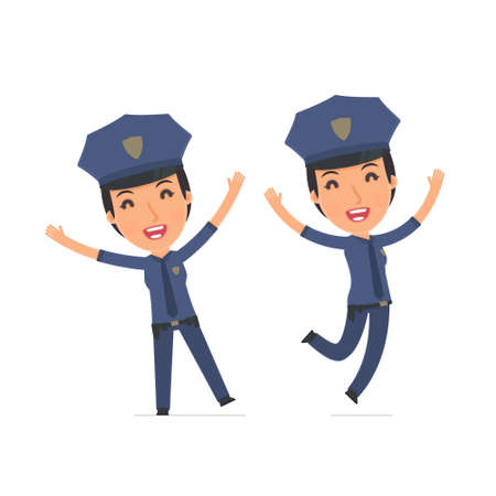 constabulary: Laughing and Joyful Character Constabulary celebrates and jumps. for use in presentations, etc.