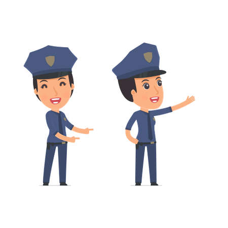 constabulary: Happy and Cheerful Character Constabulary making presentation using his hand. for use in presentations, etc. Illustration