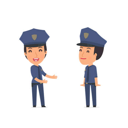 serene people: Funny Character Constabulary se introduces his shy friend. Poses for interaction with other characters from this series