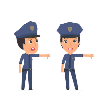 Frustrated and Angry Character Constabulary showing thumb down as a symbol of negative. for use in presentations, etc.