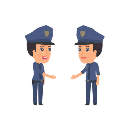 Intelligent Character Constabulary concludes business contract with his partner. Poses for interaction with other characters from this series Illustration