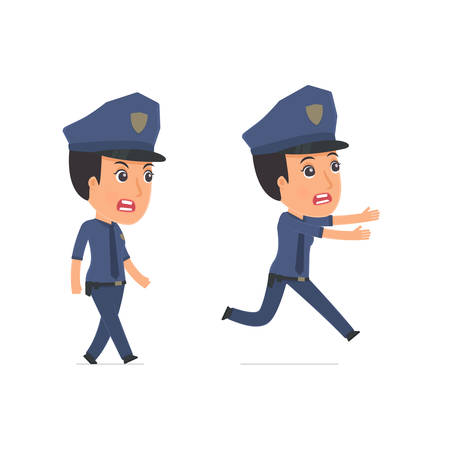 constabulary: Angry and Frightened Character Constabulary goes and runs. for use in presentations, etc. Illustration