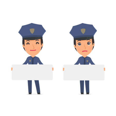 communication occupation: Funny Character Constabulary holds and interacts with blank forms or objects. for use in presentations, etc.