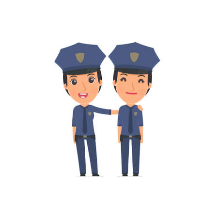 constabulary: Joyful Character Constabulary and his best friend standing together. Poses for interaction with other characters from this series