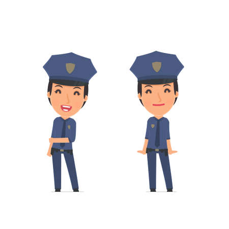constabulary: Funny Character Constabulary in confident and shy poses. for use in presentations, etc.