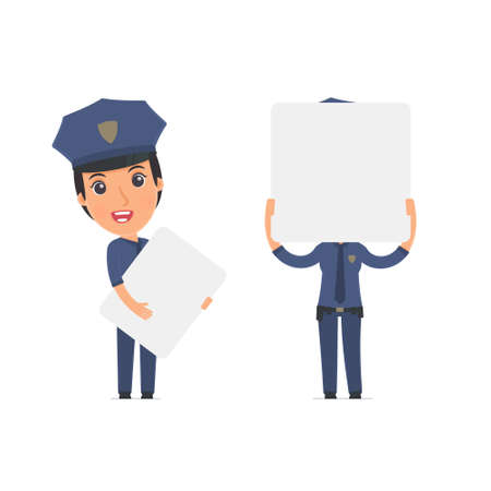 constabulary: Funny Character Constabulary holds and interacts with blank forms or objects. for use in presentations, etc.