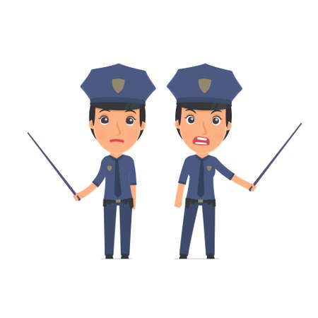 Angry and Sad Character Constabulary making presentation using pointer. for use in presentations, etc. Illustration
