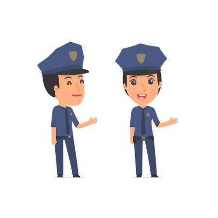 constabulary: Happy and Intelligent Character Constabulary making presentation using his hand. for use in presentations, etc.