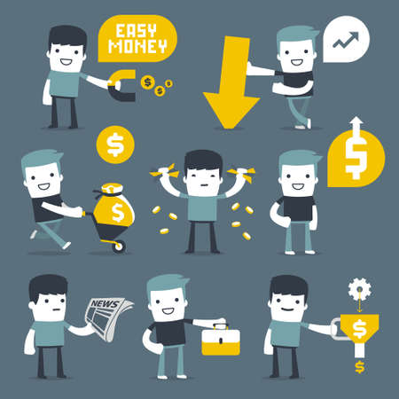 purchasing manager: Flat Simple Characters two friends for use in design Illustration
