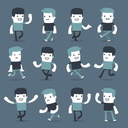 cartoon adult: Flat Simple Characters two friends for use in design Illustration