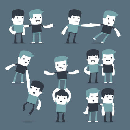 manager team: Flat Simple Characters two friends for use in design Illustration