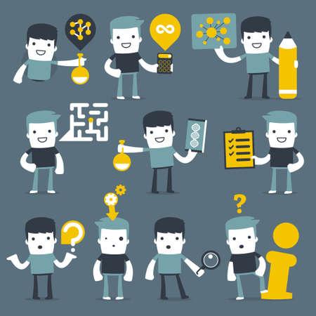 gente pensando: Los personajes planos simples dos amigos para su uso en el diseño Vectores