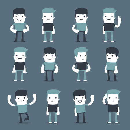 business team: Flat Simple Characters two friends for use in design Illustration