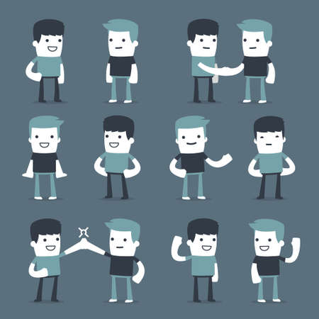 two friends: Flat Simple Characters two friends for use in design Illustration