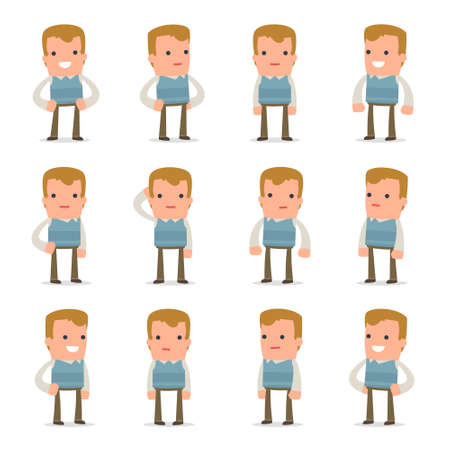 relaxed man: Set of Happy and Cheerful Character Family man standing in relaxed poses for using in presentations, etc.