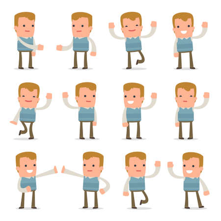 family man: Set of Funny and Cheerful Character Family man welcomes poses for using in presentations, etc.