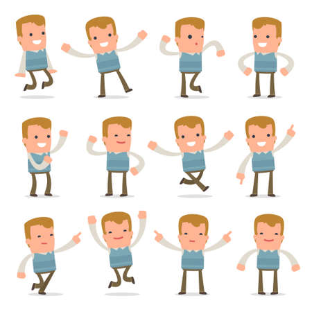 family man: Set of Laughing and Joyful Character Family man in celebrates and jumps poses for using in presentations, etc. Illustration