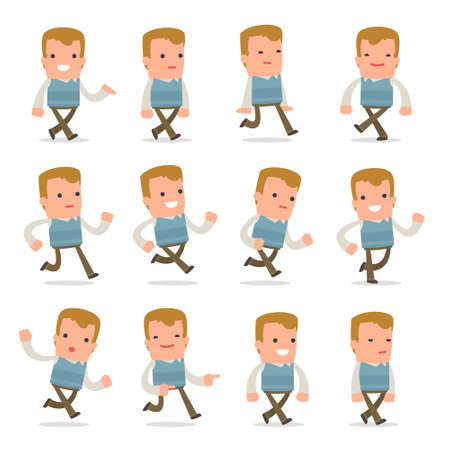family man: Set of Funny and Cheerful Character Family man goes and runs poses for using in presentations, etc. Illustration